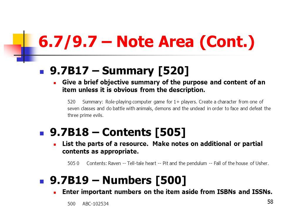 6.7/9.7 – Note Area (Cont.) 9.7B17 – Summary [520]